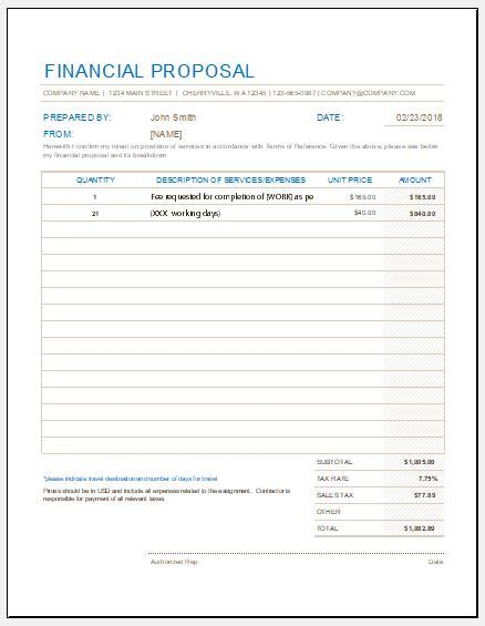 financial proposal form templates  excel word excel