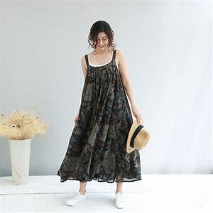 Beach Style Cotton Linen Plus Size Maxi Dress Ink Painting