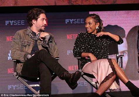 Logan Browning shows some leg as she joins cast members at ...