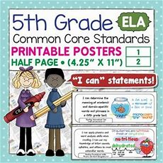Common Core Standards I Can Statements For 5th Grade Ela  K8 Available  Language, Student And