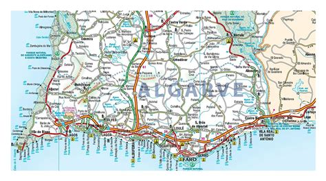 road map  algarve  cities  airports algarve