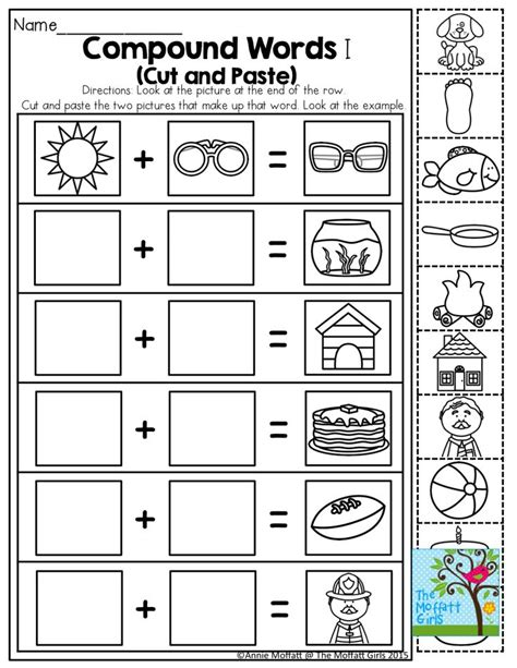 compound word worksheets cut and paste 11 best images about compound words on free