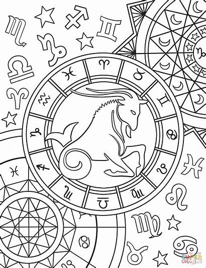 Zodiac Coloring Capricorn Sign Pages Signs Printable