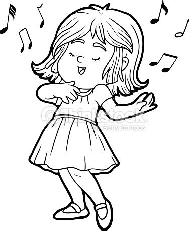 children singing clipart black and white coloring book is singing a song vector