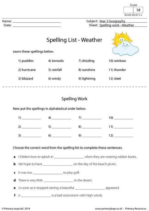 primaryleap co uk spelling list weather worksheet