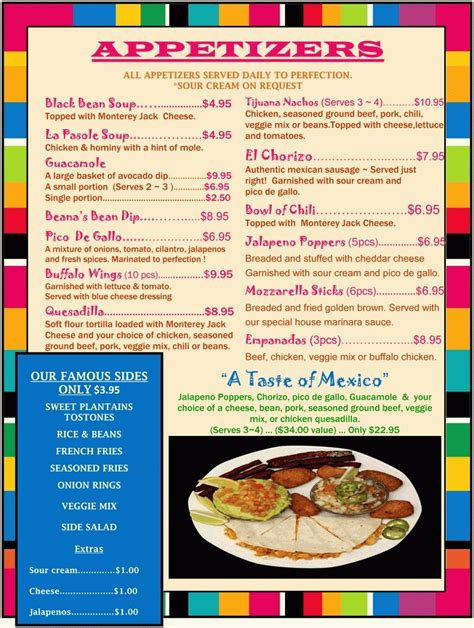 Mexican Food Appetizers Menu  Resume Corner