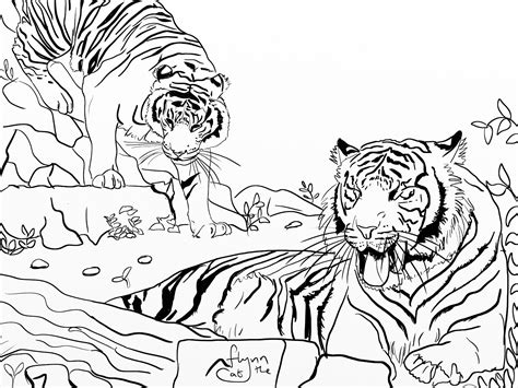 Coloring Wildlife by Tigers Wildlife Colouring Page Colouring Page