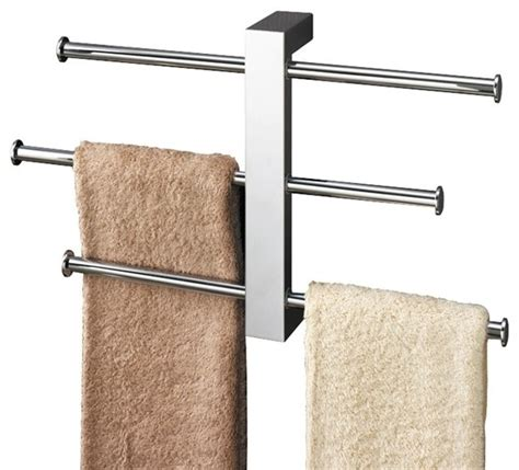 polished chrome towel rack with 3 sliding rails contemporary towel racks stands by