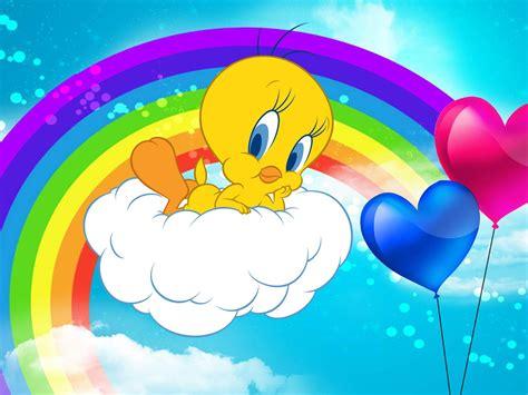 Tweety Bird Cartoon Graphics Pics Rainbow Background ...