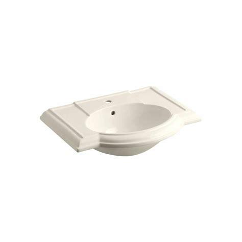 kohler devonshire 4 7 8 in pedestal sink basin in almond