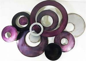 Metal Wall Art - Purple Linked Circle Disc Abstract