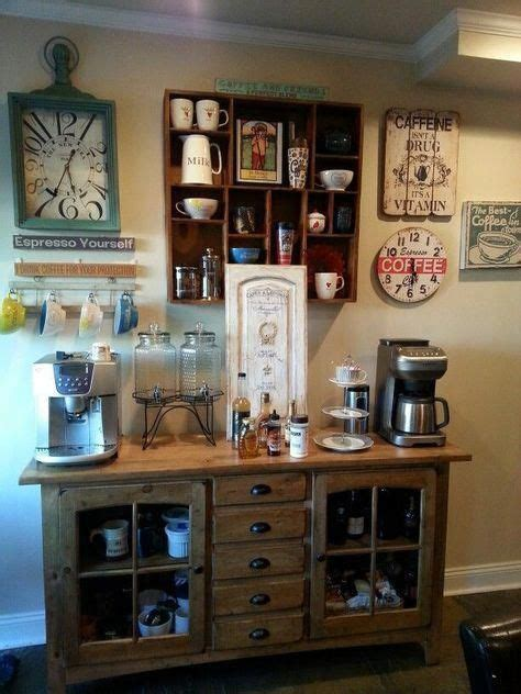 Home coffee bar's are not only fun and decorative but they're also a great way to save money. Pinned for the dispensing drink stand #fancyhomebardecor in 2020   Coffee bar home, Coffee bar ...