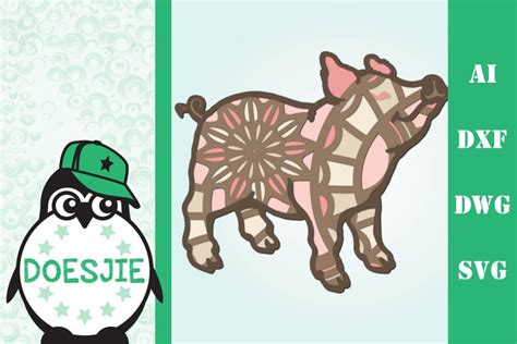 This would be amazing for a variety of diy farm craft projects such as: 3d Pig farm animal multi layer mandala svg (831406) | Cut ...