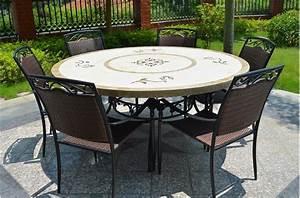Table Ronde En Marbre : grande table 170 160 en pierre mosa marbre ronde luxor ~ Mglfilm.com Idées de Décoration