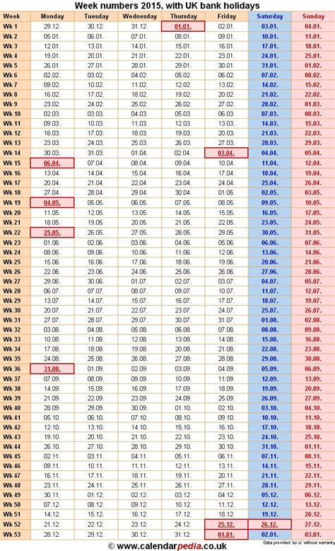 52 Week Numbered Calendar :-Free Calendar Template