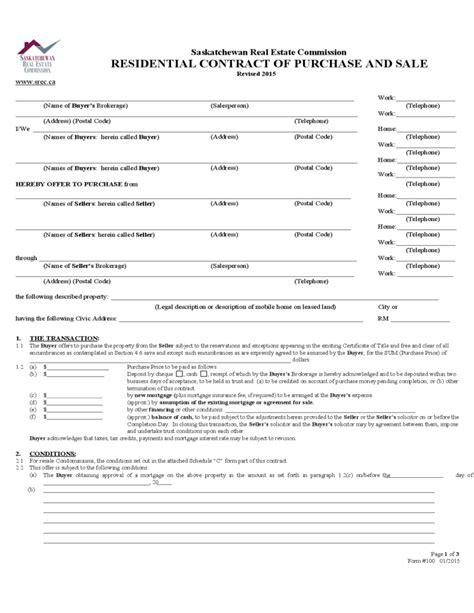 residential contract  purchase  sale saskatchewan