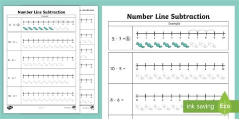 subtraction from 10 number line worksheet numberline subtract