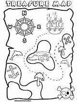 Coloring Treasure Pirate Map Printable Maps Template Clipart Drawing Sheet Popular Library Coloringhome sketch template