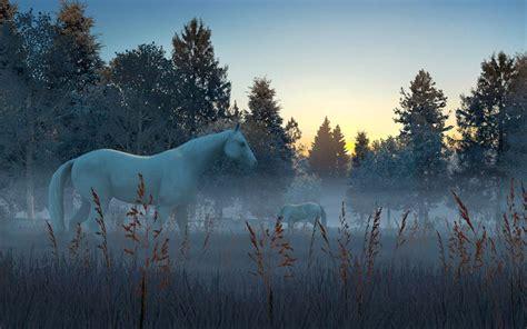 fog horses  screensaver  animated  screensaver