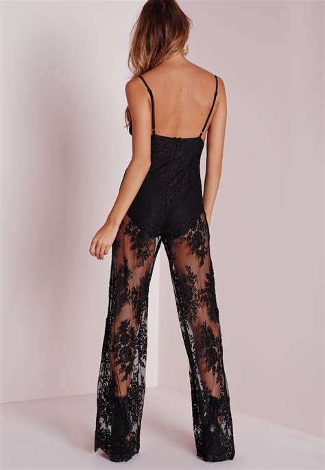 lace jumpsuit missguided sheer lace knicker insert jumpsuit black in