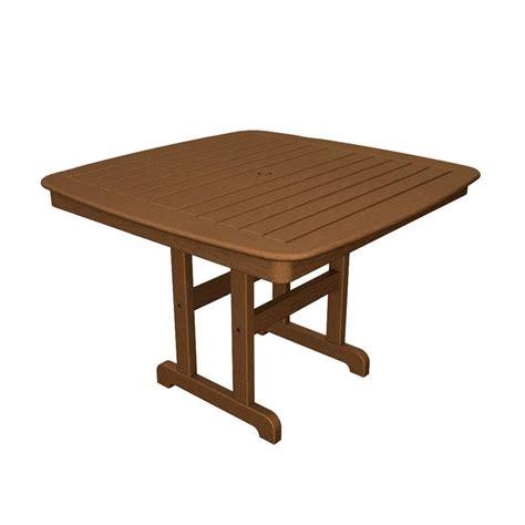polywood nautical 44 in teak patio dining table nct44te