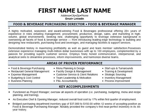 director of food and beverage resume food beverage