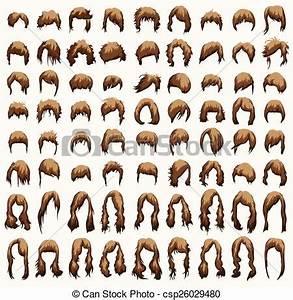 Vettore di Acconciature marrone Tagli capelli toni