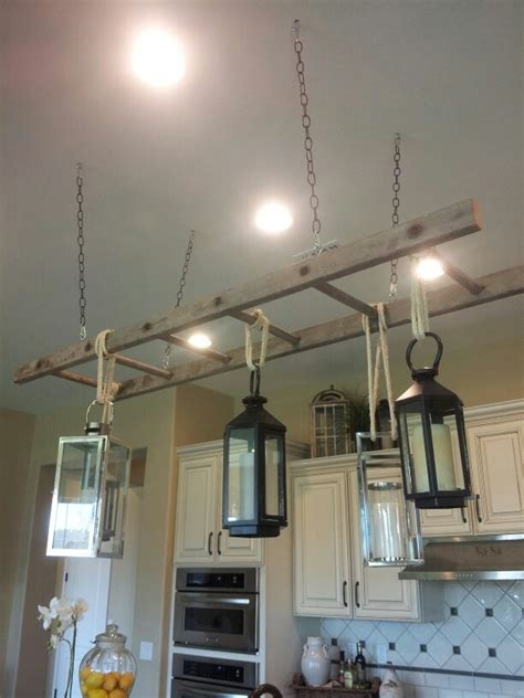 new use for an ladder pot rack light fixture