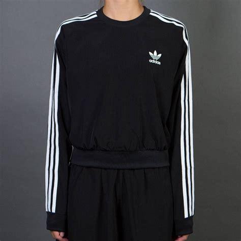 adidas sweater black and white adidas 3 stripes cropped sweater black mq63n4876