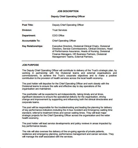 chief operating officer description template 7 free