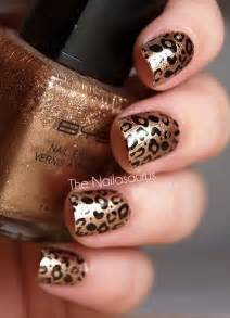Gold and brown leopard print nail art idea
