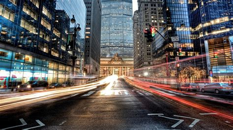manhattan  york city usa road car skyscrapers