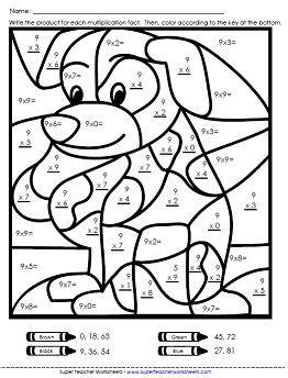 3rd grade math worksheet color by number math color worksheets multiplication worksheets basic
