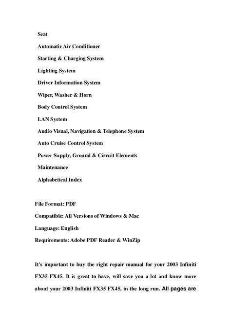 download car manuals 2003 infiniti i parental controls 2003 infiniti fx35 fx45 service repair workshop manual download