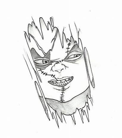 Tattoo Chucky Designs Stencils Drawing Drawings Stencil
