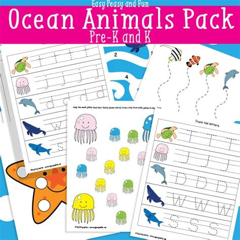 animals printables for easy peasy and 795 | Ocean Animals Printables for Preschool and Kindergarten Free