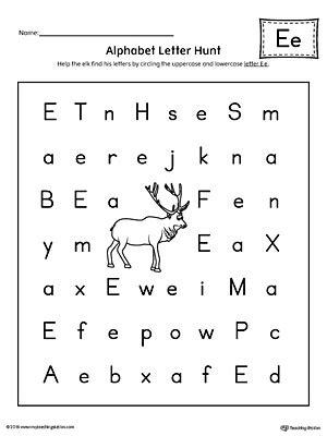 alphabet letter hunt letter e worksheet