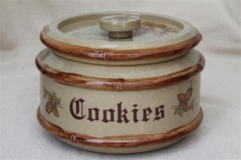 80s Vintage Country Stoneware Cookie Jar, Signed & Dated