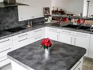 cuisine en laque blanc brillant plan de travail et With cuisine blanc laque avec ilot