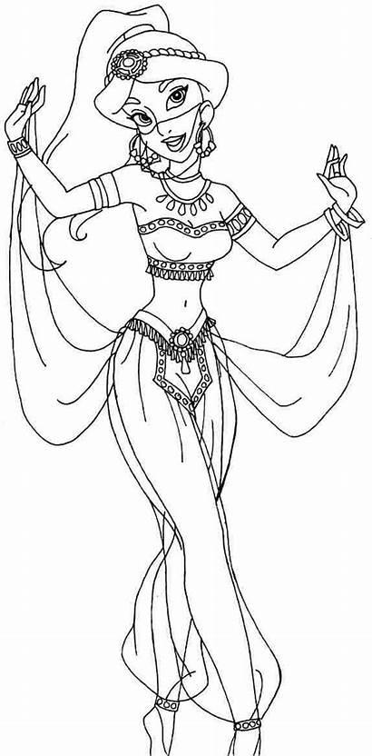 Jasmine Coloring Princess Pages Disney Printable Aladdin