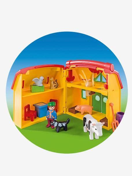 ferme transportable playmobil 6962 ferme transportable avec animaux playmobil 1 2 3 jaune multicolore playmobil
