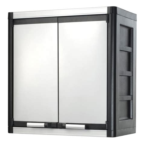 Metal Wall Cabinets keter stronghold wall cabinet includes lid black metal