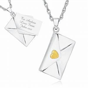love letter envelope necklace personalised engraved With envelope necklace with letter
