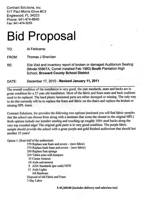 financial bidding proposal format businesses  travel