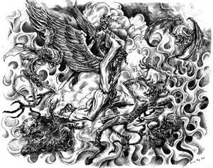 Angel Fighting Demon Tattoo Drawings