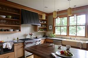 open shelving range hood kitchen contemporary with tile