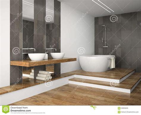 plancher chauffant salle de bain int 233 rieur de salle de bains avec le plancher en bois illustration stock image 58965826