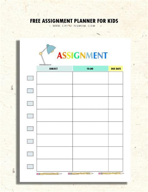 assignment planner  kids  teens fun  cute