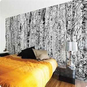 birch wallpaper behind bed