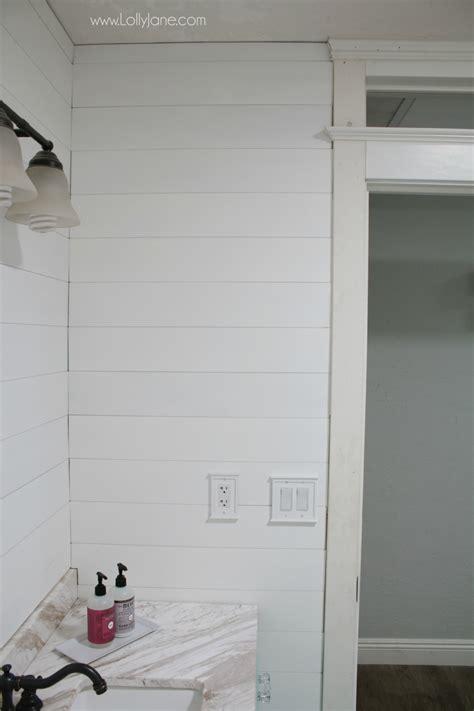 easy  install peel  stick shiplap bathroom wall